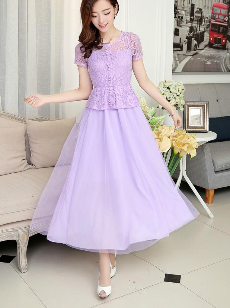 Model Baju Dress Panjang Tema Pesta Dari Kain Brokat