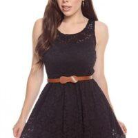 Model Mini Dress Style Casual Smooth Black Dengan Ikat Pinggang Cantik